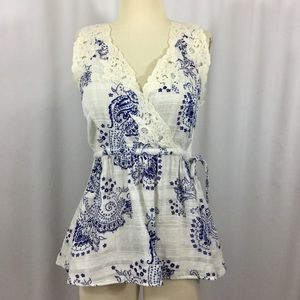 Cabi floral cotton and lace top